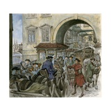 Traffic on Old London Bridge Giclee Print by Peter Jackson