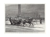 Late Frost - the Prince of Wales Sleighing on the Thames Embankment Giclee Print by William Small