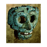 Turquoise and Shell Encrusted Mask of Quetzalcoatl, the Feathered Serpent Giclée-tryk