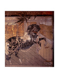 Folding Screen Depicting a Stable Scene (Detail) Giclee Print