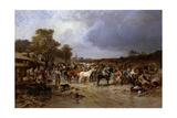 The Horse Market at Honnebont, 1871 Giclee Print by Jules Achille Noel