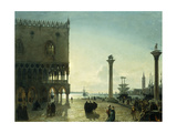Piazza San Marco at Night Giclee Print by Friedrich Nerly