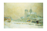 View of Notre Dame, Paris, from the Quai De La Tournelle: Snow Effect; Notre Dame De Paris, Vue… Giclee Print by Albert-Charles Lebourg