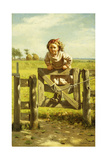 Young Girl Swinging on a Gate Giclee Print by John George Brown