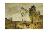 The Ford; Cows on the Edge of a Ford; Le Gue; Vaches Au Bord Du Gue, C.1870-1873 Giclee Print by Jean-Baptiste-Camille Corot