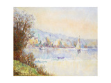 Boats on the Seine; Bateaux Sur La Seine Giclee Print by Albert-Charles Lebourg