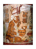 Polychrome 'Waisted' Cylindrical Vase with 'Palace Scene' Giclee Print
