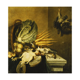 An Overturned Basket of Fowl, Turnips, Apples, Onions and a Cabbage on a Ledge Draped with a… Giclee Print by Jacobus Biltius