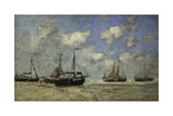 Scheveningen, Boats Run Aground on the Shore; Scheveningen, Bateaux Echoues Sur La Greve, 1875 Giclee Print by Eugène Boudin