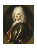 Portrait of a Gentleman, Half Length, in Armour, a White Jabot and Crimson Wrap, in a Painted Oval Giclee Print by Jean-Marc Nattier