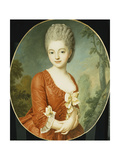 Portrait of a Young Lady, Half Length, Wearing a Red Dress with Bows, in a Park Giclee Print by Antoine Vestier
