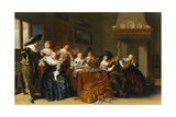 Elegant Figures with Instruments Seated at a Table and a Young Lady Singing in a Interior, 1637 Giclee Print by Dirck Hals