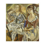 Young Women at a Table; Jeunes Filles Attablees (Recto), C.1915-1919 Gicléetryck av Jules Pascin