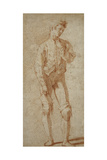A Standing Youth, Partly Dressed, Wearing a Doublet, Pulling Up His Stockings Giclee Print by Andrea Boscoli