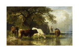 Cattle Watering in a River Landscape, 1881 Giclee Print by Friedrich Johann Voltz