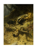 Dachshunds on a Badger, 1882 Giclee Print by Guido von Maffei