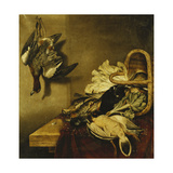 An Overturned Basket of Fowl, a Hare, an Artichoke and Lettuce on a Ledge Draped with a Red Cloth Giclee Print by Jacobus Biltius