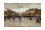 Rond Point Des Champs Elysees, Paris Giclee Print by Luigi Loir