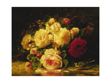 Roses with a Blue Tit by a Stream Giclee Print by Jean Baptiste Claude Robie