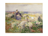 A Shepherdess with Her Flock Giclee Print by Luigi Chialiva