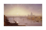 Southwark Bridge and St. Paul's Cathedral from London Bridge: Evening Giclee Print by George Fennel Robson