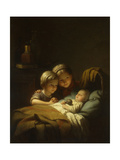 The Little Sleeping Brother; Le Petit Frere Dormant, 1856 Giclee Print by Johann Georg Meyer