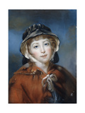 Portrait of a Girl, Bust Length, in a Red Cape Tied with a Bow and a Black Bonnet Giclee Print by John Russell