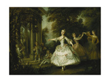 Mademoiselle Salle as Venus with the Three Graces Giclee Print by Nicolas Lancret
