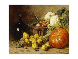 A Still Life with a Wine Flagon, a Basket, Pears, Onions, Cauliflowers, Cabbages, Garlic and a… Giclee Print by Eugene Claude