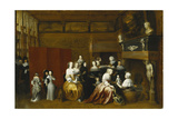 Ladies Celebrating the Birth of a Child, and Gentlemen Looking on from Behind a Screen, in an… Giclee Print by Hieronymus Janssens