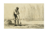 Peasant Leaning on a Pitchfork Giclee Print by Jean-François Millet