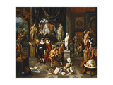 An Elegant Couple Visiting a Sculpture Gallery, with an Artist Sketching and a Sculptor at Work… Giclee Print by Balthasar van den Bossche