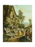 Peasants Dancing and Merry-Making before a Tavern, a Walled Town Beyond Giclee Print by Louis Joseph Watteau
