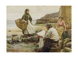 Newlyn: Catching Up with the Cornish Telegraph Giclee Print by Walter Langley