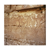Relief from the Portico of the Palace in the First Courtyard of the Temple of Ramesses III,… Giclee Print