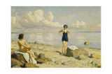 On the Beach Giclee Print by Paul Fischer