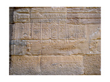 Egyptian Hieroglyphic Inscription on a Wall of the Temple of Isis, Defaced by 19th C… Giclee Print