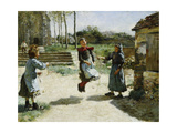 Little Girls Jumping Rope; Gamines Sautant a La Corde, 1888 Giclee Print by Alphonse Etienne Dinet