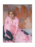 The Pink Dress; La Robe Rose, C.1898 Giclee Print by Edmond-francois Aman-jean