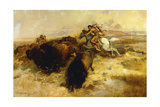 Buffalo Hunt, 1897 Giclée-tryk af Charles Marion Russell