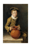 A Boy Seated on a Bench with a Pitcher, 1839 Giclee Print by William Henry Hunt