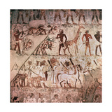 A Detail of a Wall Painting in the Tomb of Rekhmire Showing Nubians Bringing a Giraffe and… Giclee Print