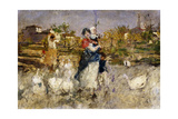 A Mother and Child with Geese Giclee Print by Mose Bianchi