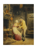 Idle Moments: a Boy Showing a Girl a Nest of Fledgelings in an Interior Giclee Print by Thomas Heaphy