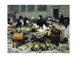 A Vegetable Stand, at Les Halles Centrales, Paris, 1878 Giclee Print by Victor Gabriel Gilbert
