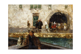 A Boy in a Boat in a Canal Giclee Print by Mose Bianchi