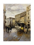 A Street Scene, Milan Giclee Print by Mose Bianchi