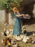 Feeding the Chickens Reproduction procédé giclée par Luigi Rossi