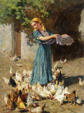 Feeding the Chickens Giclee Print by Luigi Rossi