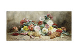 Carnations, Roses, Grapes and Peaches Giclee Print by Georges Jeannin